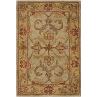 Safavieh Handmade Heritage Timeless Traditional Green/ Gold Wool Rug - 2' x 3'