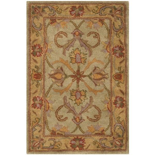 Safavieh Handmade Heritage Timeless Traditional Green/ Gold Wool Rug (2' x 3')