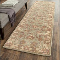"Safavieh Handmade Heritage Timeless Traditional Green/ Gold Wool Runner Rug - 2'3"" x 12'"