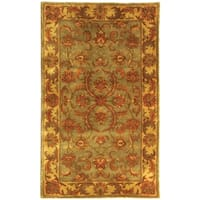 Safavieh Handmade Heritage Timeless Traditional Green/ Gold Wool Rug - 3' x 5'