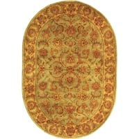 "Safavieh Handmade Heritage Timeless Traditional Green/ Gold Wool Rug - 7'6"" x 9'6"" oval"