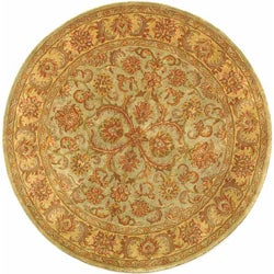 Safavieh Handmade Heritage Timeless Traditional Green/ Gold Wool Rug (3'6 Round)