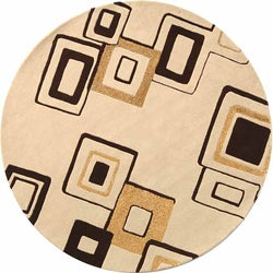 Safavieh Handmade Soho Gala Modern Abstract Beige/ Brown Wool Rug (6' Round)