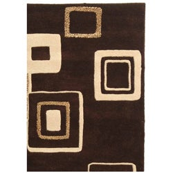 Safavieh Handmade Soho Gala Modern Abstract Brown/ Beige Wool Rug (5' x 8') - Thumbnail 2