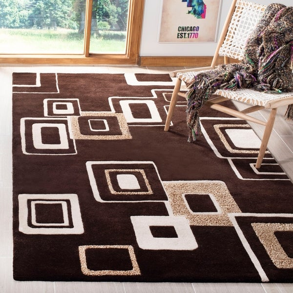 "Safavieh Handmade Soho Gala Modern Abstract Brown/ Beige Wool Rug - 9'-6"" x 13'-6"""