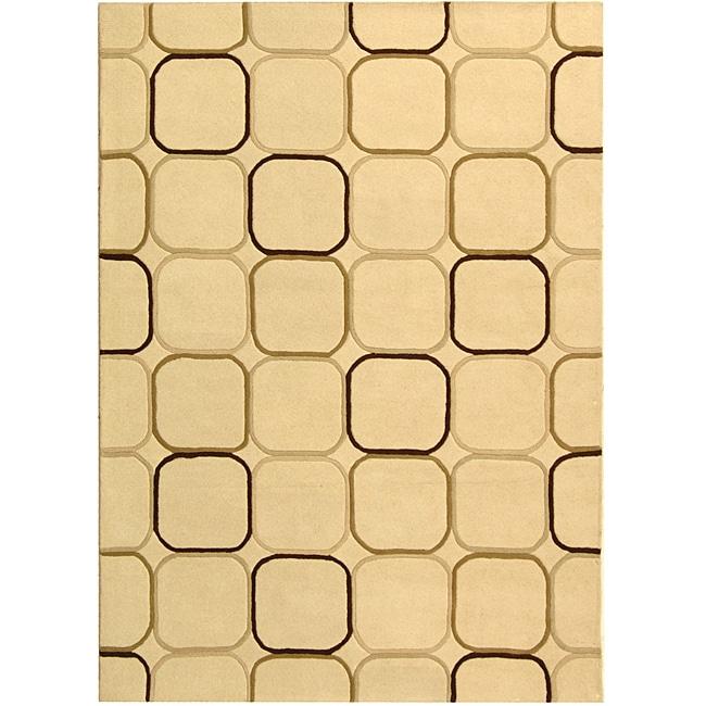 Safavieh Handmade Soho Elipse Ivory New Zealand Wool Rug - 7'6 x 9'6