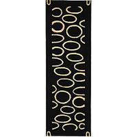 Safavieh Handmade Soho Eclipse Black/ Ivory N. Z. Wool Runner - 2'6 x 12'