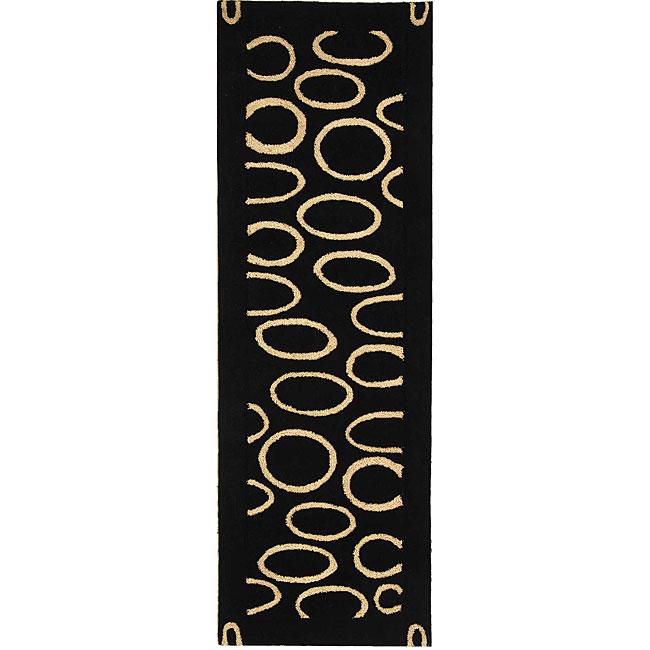 Safavieh Handmade Soho Eclipse Black/ Ivory N. Z. Wool Runner (2'6 x 8')
