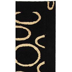 Safavieh Handmade Soho Eclipse Black/ Ivory N. Z. Wool Runner (2'6 x 8') - Thumbnail 2