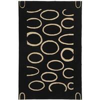 Safavieh Handmade Soho Eclipse Black/ Ivory N. Z. Wool Rug (3'6 x 5'6)
