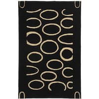 Safavieh Handmade Soho Eclipse Black/ Ivory New Zealand Wool Rug - 5' x 8'