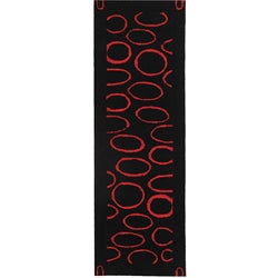 Safavieh Handmade Soho Eclipse Black/ Red N. Z. Wool Runner (2'6 x 12')