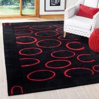 "Safavieh Handmade Soho Eclipse Black/ Red New Zealand Wool Rug - 3'6"" x 5'6"""