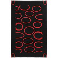 Safavieh Handmade Soho Eclipse Black/ Red New Zealand Wool Rug - 5' x 8'