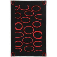 Safavieh Handmade Soho Eclipse Black/ Red New Zealand Wool Rug - 7'6 x 9'6