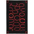 Safavieh Handmade Soho Eclipse Black/ Red New Zealand Wool Rug - 7'6 x 9'6