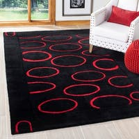 "Safavieh Handmade Soho Eclipse Black/ Red New Zealand Wool Rug - 7'-6"" x 9'-6"""