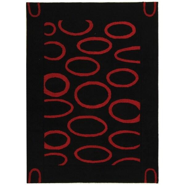"Safavieh Handmade Soho Eclipse Black/ Red New Zealand Wool Rug - 7'6"" x 9'6"""