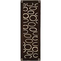 Safavieh Handmade Soho Eclipse Brown/ Ivory N. Z. Wool Runner (2'6 x 8')