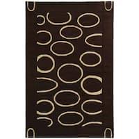 Safavieh Handmade Soho Eclipse Brown/ Ivory N. Z. Wool Rug - 3'6' x 5'6'