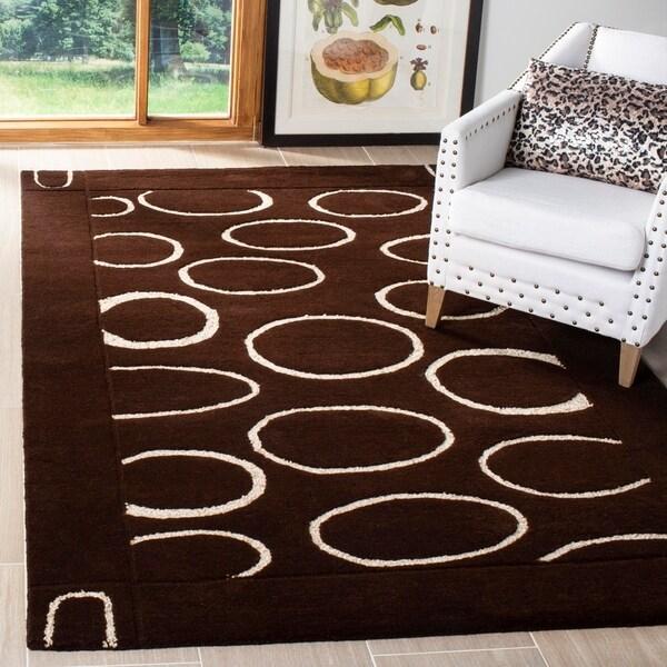 Safavieh Handmade Soho Eclipse Brown/ Ivory New Zealand Wool Rug - 5' x 8'