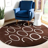 Safavieh Handmade Soho Eclipse Brown/ Ivory N. Z. Wool Rug - 6' x 6' Round