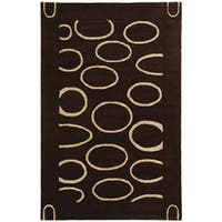 Safavieh Handmade Soho Eclipse Brown/ Ivory N. Z. Wool Rug - 7'6 x 9'6