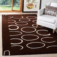 "Safavieh Handmade Soho Eclipse Brown/ Ivory N. Z. Wool Rug - 7'6"" x 9'6"""