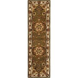 Safavieh Handmade Tabriz Green/ Ivory Wool and Silk Runner (2'3 x 12')