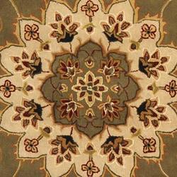 Safavieh Handmade Tabriz Green/ Ivory Wool and Silk Rug (5' x 8')