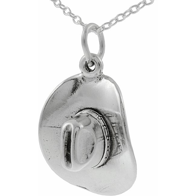 Journee Collection  Sterling Silver Cowboy Hat Necklace