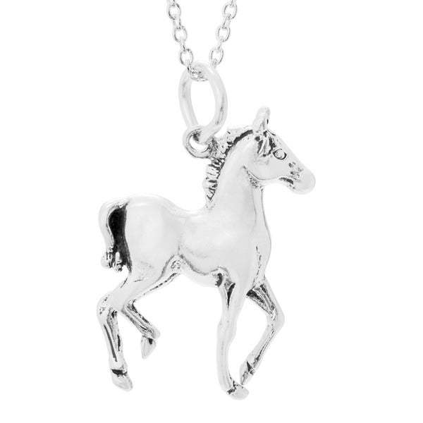 Sterling Silver Horse Pendant Necklace