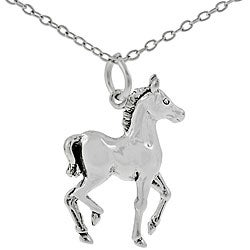 Journee Collection Sterling Silver Horse Necklace