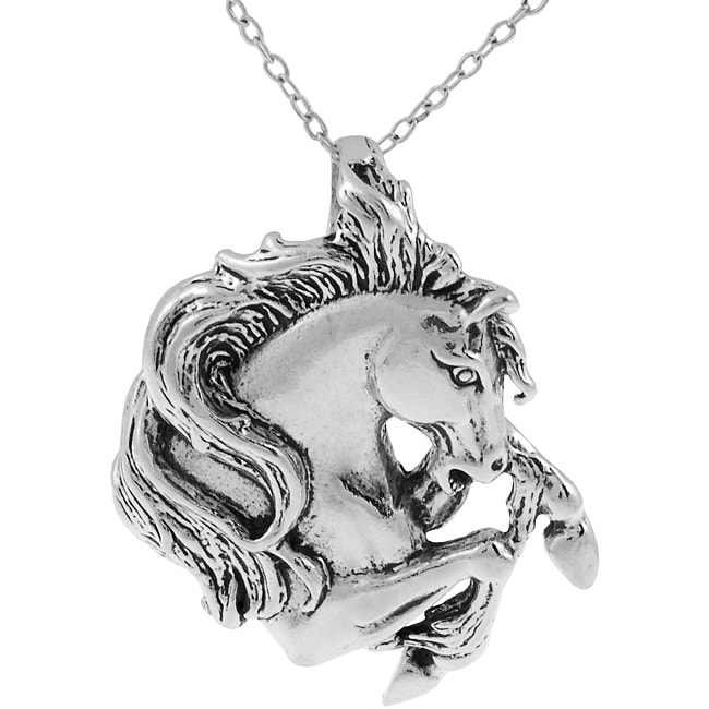 Journee Collection Sterling Silver Horse Head High-polish Pendant Fashion Necklace