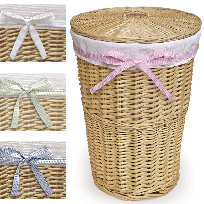 Natural Round Rattan Hamper With White Waffle Liner Free