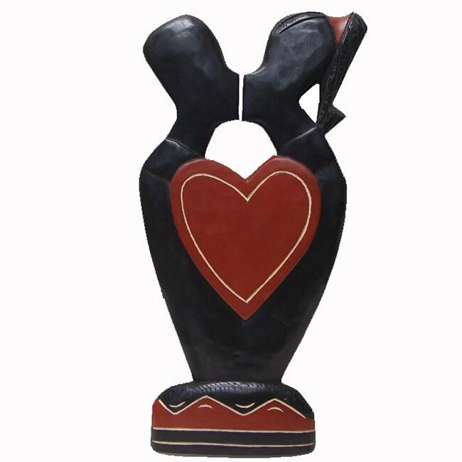 Handmade 'Heart to Heart' Carving (Ghana)