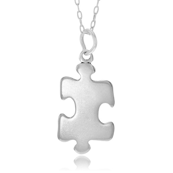 Journee Collection  Sterling Silver Puzzle Piece Necklace