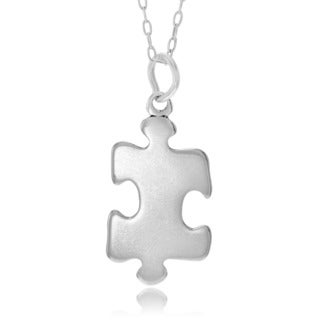 Journee Collection Sterling Silver Puzzle Piece Pendant