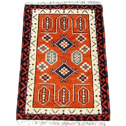 Indo Kazak Hand-knotted Rust/ Ivory Rug (2' x 3') - 2' x 3'