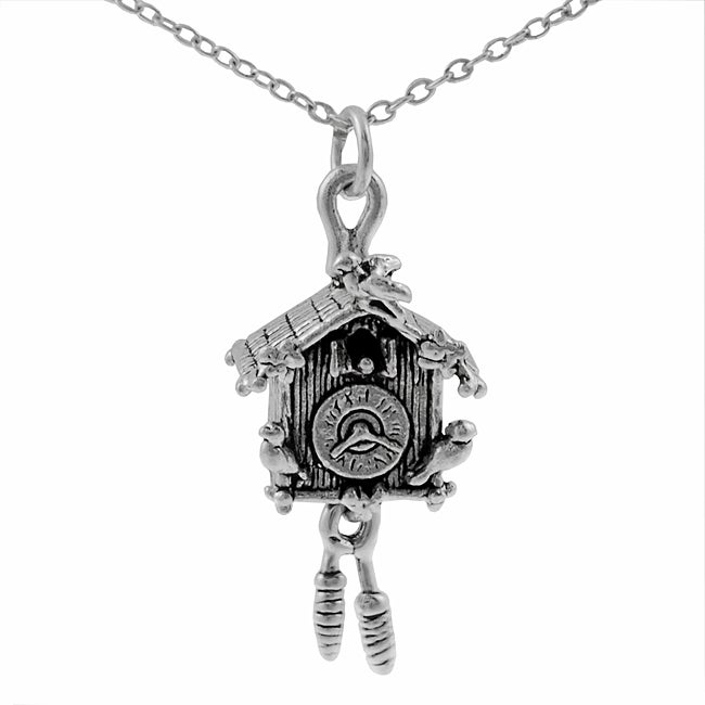 Journee Collection Sterling Silver Cuckoo Clock Necklace