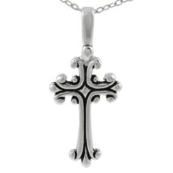 Journee Collection Sterling Silver Antique Cross Necklace