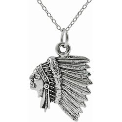 Journee Collection Sterling Silver Indian Chief Head Necklace - Thumbnail 0