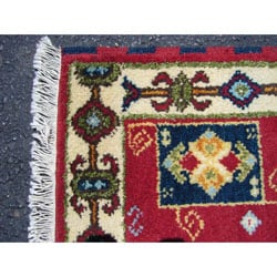 Indo Kazak Hand-Knotted Red/Ivory Area Rug (2' x 3') - Thumbnail 1