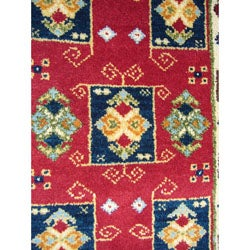 Indo Kazak Hand-Knotted Red/Ivory Area Rug (2' x 3') - Thumbnail 2