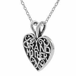 Journee Collection  Sterling Silver Grandmother in Heart Necklace