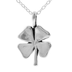 Journee Collection Sterling Silver Four Leaf Clover Necklace