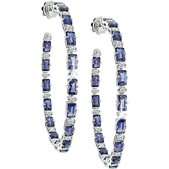 Miadora 18k Gold 1 7/8ct Diamond and Sapphire Hoop Earrings