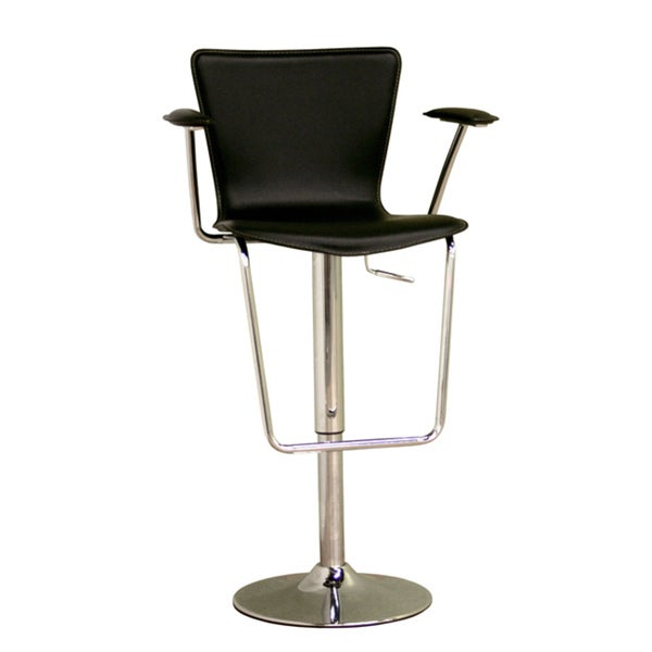 "Modern Black Faux Leather 24-30"" Adjustable Bar Stool by Baxton Studio"