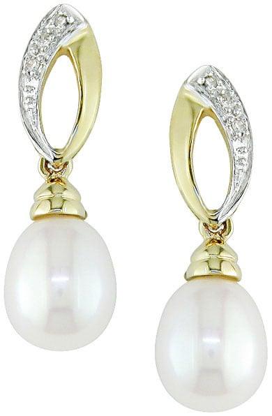 Miadora 10k Yellow Gold Diamond and Cultured Freshwater Pearl Drop Earrings (7-8 mm) with Bonus Earrings