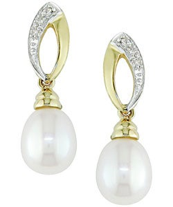 Miadora 10k Yellow Gold Diamond and Cultured Freshwater Pearl Drop Earrings (7-8 mm) with Bonus Earrings